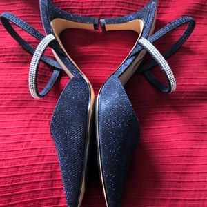 Navy sparkly slingback evening shoe.